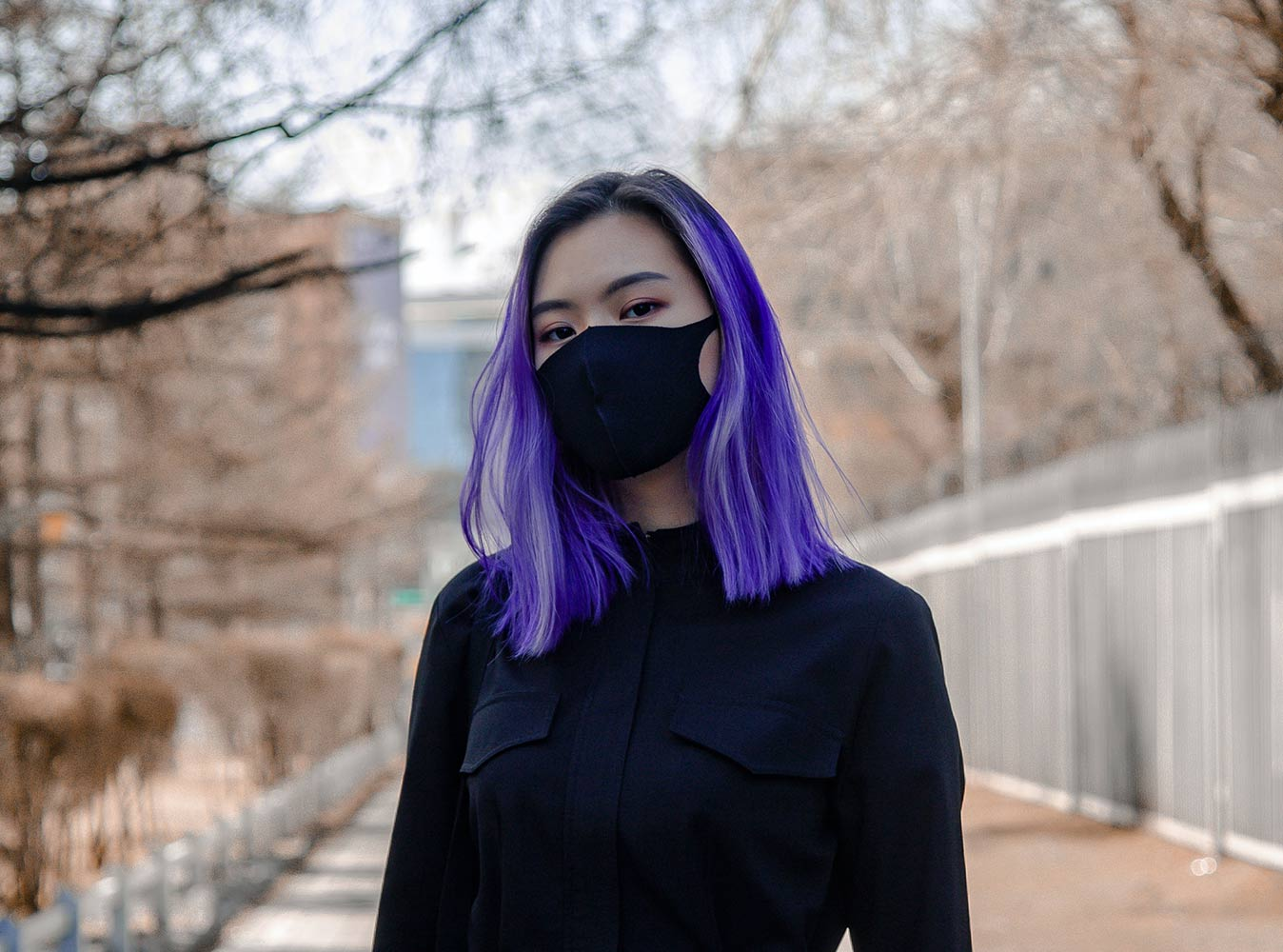 Covid-19 Mask with purple hair